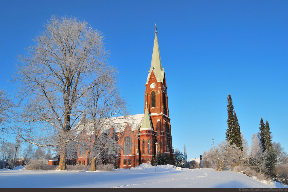 Mikkeli, Finland. Lutheran Cathedral in a sunny winter day